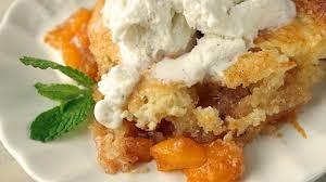 peach cobbler with fresh whipped cream
